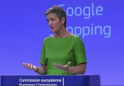 "alt=""Google fined 2.42bn euros for illegally favouring its own shopping service"""