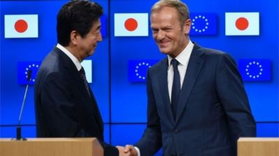 "alt=""European Union and Japan conclude landmark free trade deal in Brussels"""