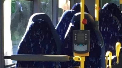 "alt=""How a far-right group in Norway mistook bus seats for burkas"""