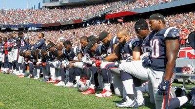 "alt=""What do you think about NFL players protesting during national anthem?"""