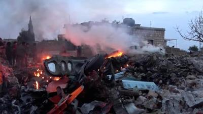 "alt=""Syrian rebels down Russian plane near northern province, killing its pilot"""