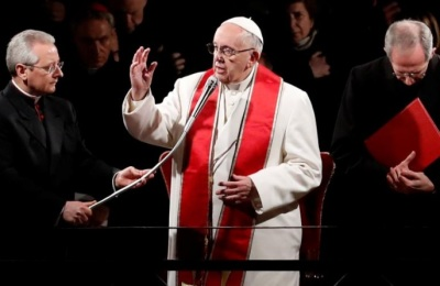 "alt=""Pope marks Good Friday amid tight security; urges to rediscover shame"""