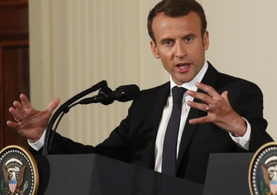"alt=""France's Macron, after talks with Trump, calls for work on Iran deal"""