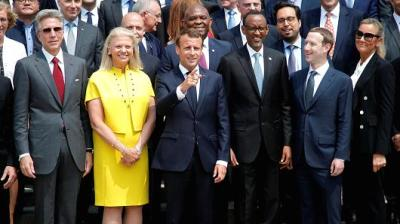 "alt=""French president tells big tech CEOs they need to contribute more to society"""