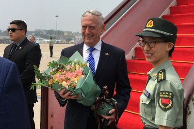 "alt=""Amid Tensions, Mattis Arrives in China to 'Have a Conversation'"""