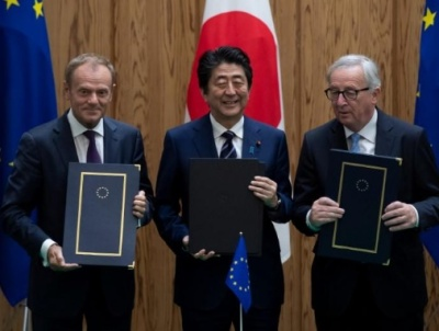 "alt=""Japan, EU sign free trade pact amid worries about Trump"""