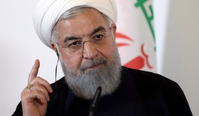 "alt=""Iran's Rouhani warns Trump about 'mother of all wars'"""