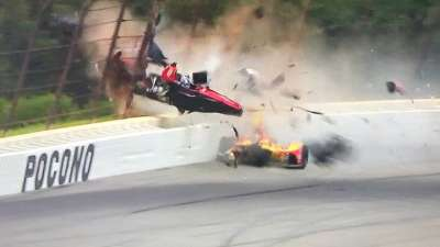 "alt=""Canadian driver Wickens suffers multiple injuries in violent IndyCar crash"""