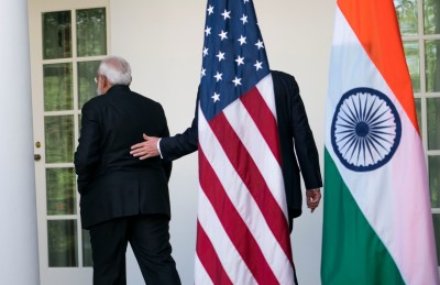 "alt=""Trump's Rougher Edge Complicates Trip by Pompeo and Mattis to India"""
