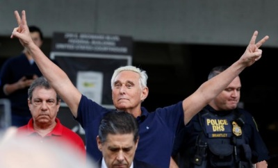 "alt=""Trump ally Roger Stone arrested for lying to U.S. Congress"""
