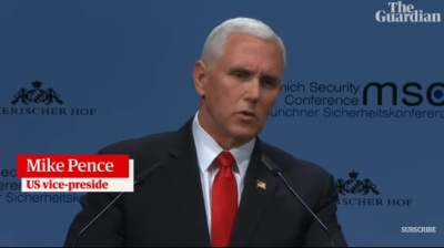 "alt=""Pence hails 'remarkable, extraordinary' Trump tenure in attack on US allies"""