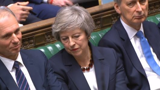 "alt=""Theresa May loses crucial vote on her Brexit deal for a third time"""